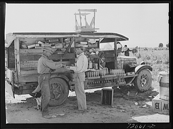 During the harvest seasons this traveling refreshment stand goes from field to field. Imperial County, California