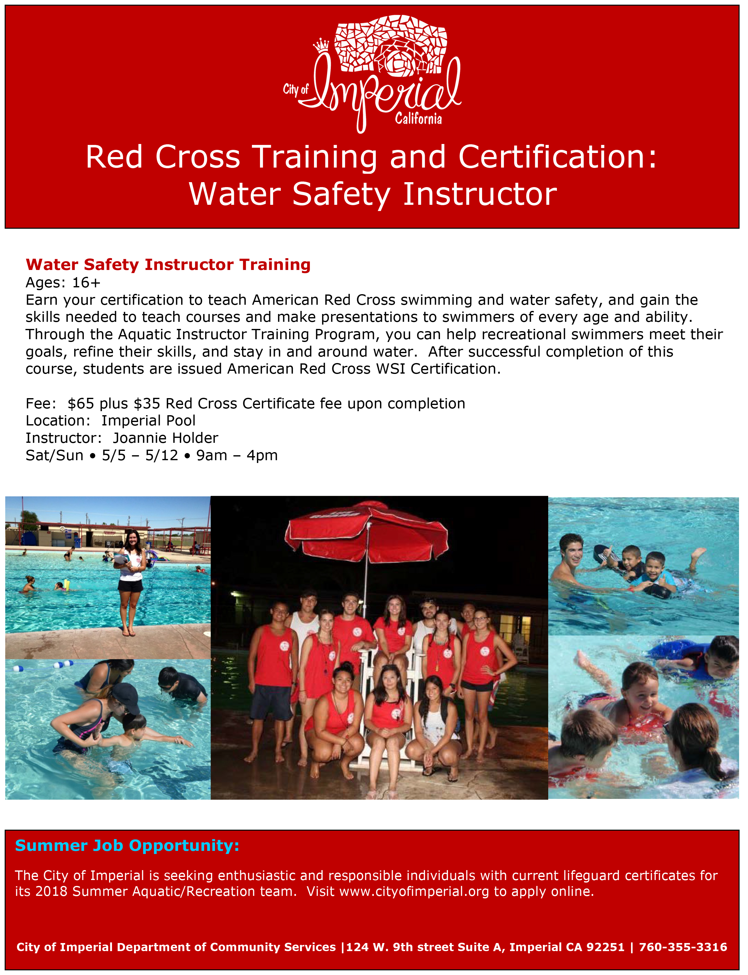 Water Safety Instructor Red Cross Training and Certification | City ...